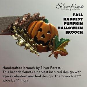 Silver Forest Fall Harvest Pumpkin HalloweenBrooch
